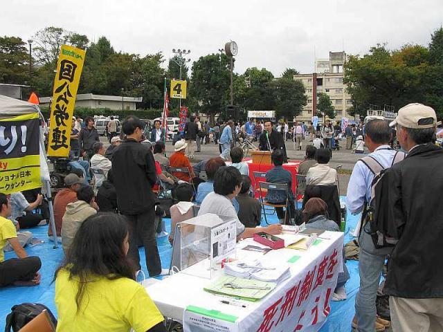 081019反貧困集会: 田辺凌鶴さんが新作講談「死刑と裁判員制度」を熱演
